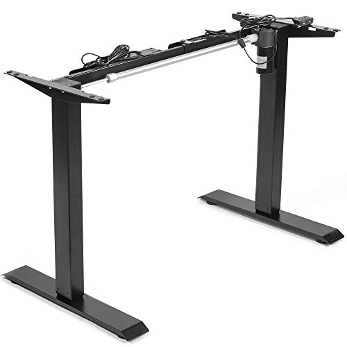 VIVO Black Electric Stand Up Desk Frame Workstation, Single Motor Ergonomic Standing Height Adjustable Base with Simple Controller, DESK-V100EB