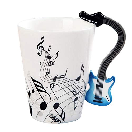Musical Instrument Notes Tea Cup Coffee Mug With Guitar Shaped Unique Handle Fashion Tea Milk Ceramic Porcelain Cup Novelty Birthday Gift for Mom Dad Kids Son Daughter Friends Who Love Music,12.5 oz ()