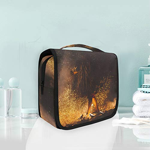 Cosmetic Makeup Toiletry Bag Travel Night Flame Fire Campfire Bonfire Wildfire Hanging]()