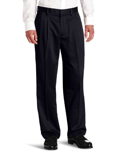 Dockers Men's Never-Iron Essential Khaki D4 Relaxed-Fit Pleated-Cuffed Pant, Navy - discontinued, 33W x 34L