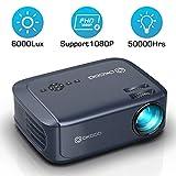 OKCOO Video Projector, Full HD 1080P 6000lux 200