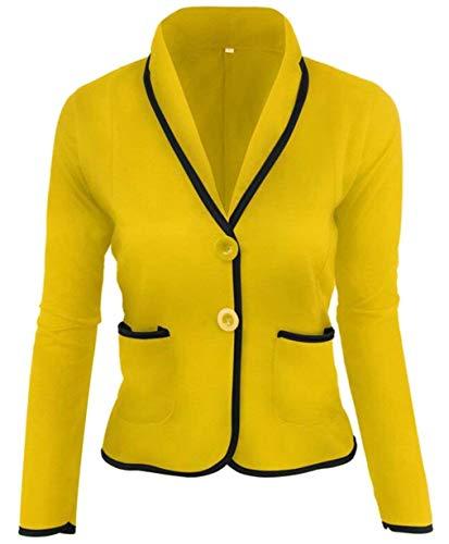 Autunno Tailleur Leisure Anteriori Bavero Da Giacca Skinny Cappotto Lunga Gelb Suit Manica Breasted Elegante Giaccone Donna Corto Colori Single Stile Tasche Misti Modern qE8cdCwYcx