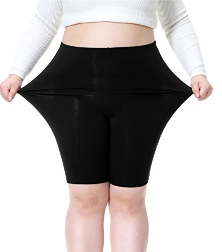 Cheapestbuy Women's Plus Size Modal Cotton Short Leggings Black