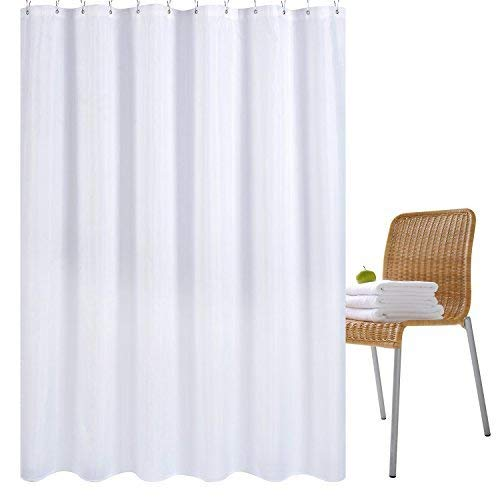 Wimaha Fabric Shower Curtain Liner Water-Resistant, Machine Washable, 100% Polyester, Perfect for Bathroom Stall Bathtub Tub, White, 72x72