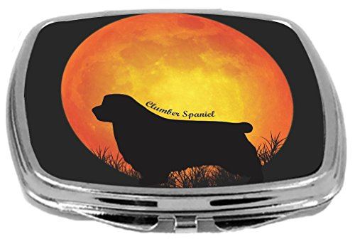 Clumber Spaniel Silhouette Dogs - Rikki Knight Clumber Spaniel Dog Silhouette By Moon Design Compact Mirror