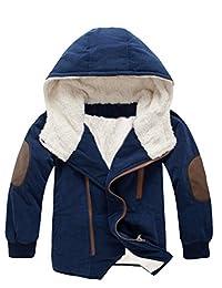 Mallimoda Boy's Thick Cotton-Padded Parka Jacket Hooded Fleece Coat