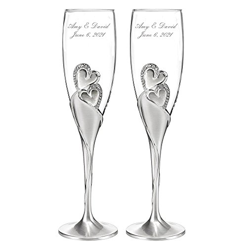 Personalized Wedding Toasting Flutes - Sparkling Love Design - Custom Engraved Champagne Flutes for Bride and Groom, Set of ()