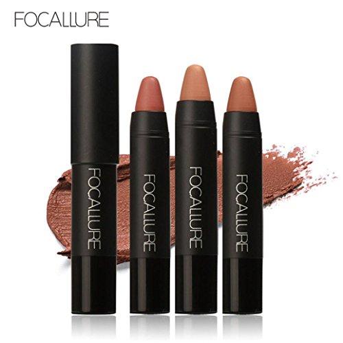 Crayon Gloss Pencil (lip gloss,BeautyVan FOCALLURE Long-lasting Red Velvet Matte Color Pencil Lipstick Crayon Makeup Set (B))