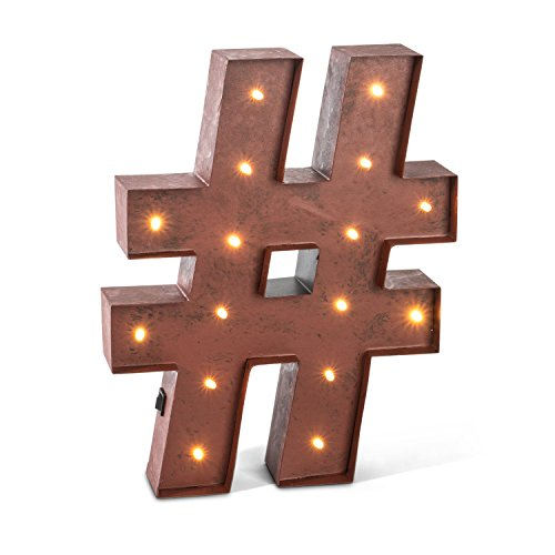 The Gerson Company 12'' Rustic Brown Lighted Metal Letter ''#