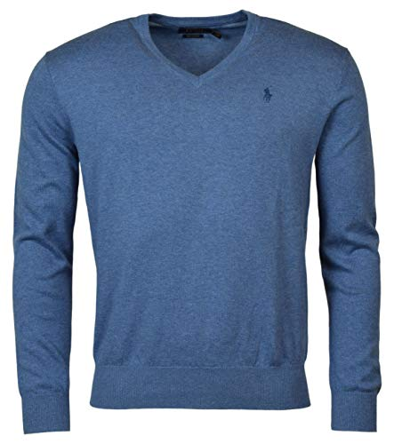 Polo Ralph Lauren Mens Pima Cotton V-Neck Sweater (Small, Blue Heather (Blue - Cotton V-neck Pullover