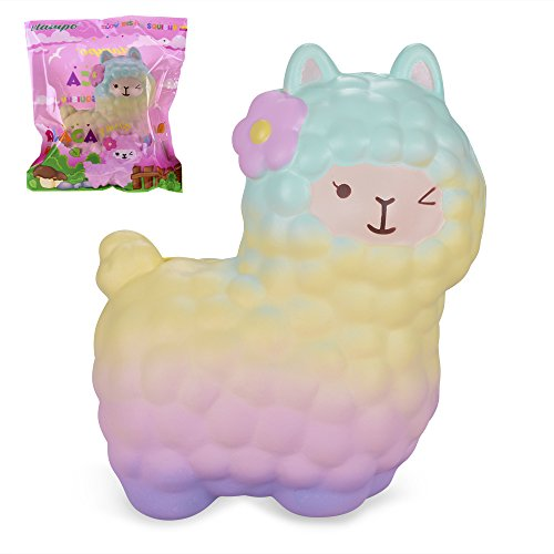 VLAMPO Squishies Alpaca 6.5, Squishy Slow Rising Stress Relief Toys Super Soft Time Killer Funny Squeeze Toys Cute Scented Fragrant Decoration Toys for Kids&Adults (Rainbow)