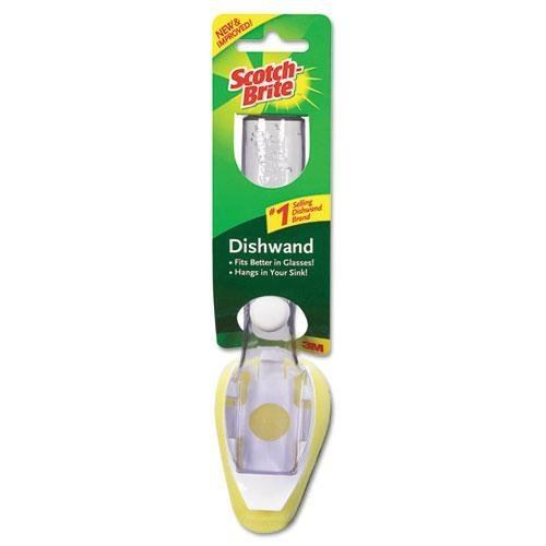 SCOTCHBRITE 65012 Heavy-Duty Soap-Dispensing Dishwand, 2 1/2'' x 9 1/2'', Yellow/White