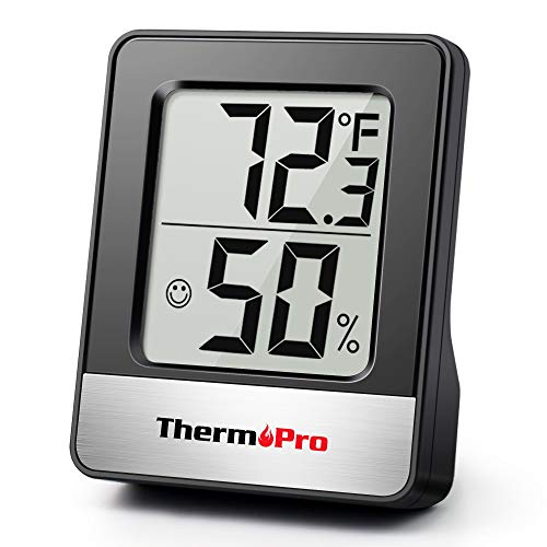 ThermoPro TP49-B Mini Hygrometer Thermometer with Large Digital View Indoor Thermometer Humidity Gauge Monitor for…