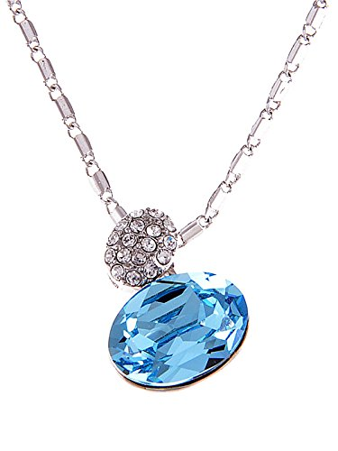 (Alilang Light Sapphire Magic Potion Perfume Bottle Swarovski Crystal Pendant Necklace)
