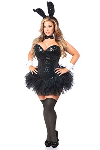 Plus Size Bunny Costumes (Daisy Corsets Women's Top Drawer Plus Size 5 Pc Sequin Bunny Corset Costume, Black,)