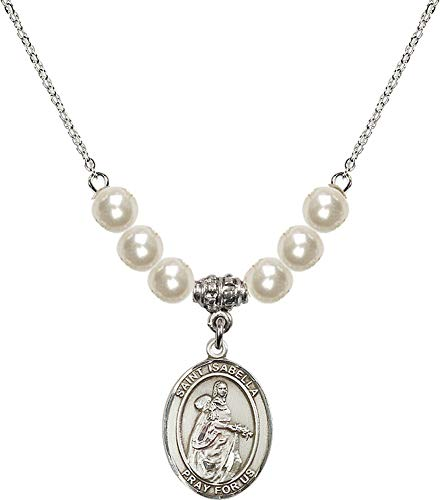 Bonyak Jewelry 18 Inch Rhodium Plated Necklace w/ 6mm Faux-Pearl Beads and Saint Isabella of Portugal Charm ()