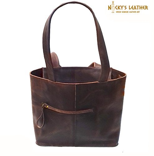 LEATHER TOTE BAG from Real Full Grain Leather 100% Handmade by Nickys Leather