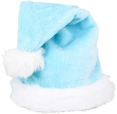 Christmas Light Blue Plush Faux Fur Trim Santa