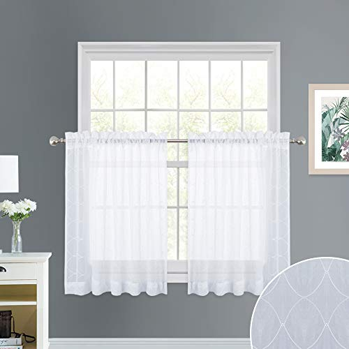 - NICETOWN Trellis Embroidered Sheer Valances - Crushed Geometric Embroidery Rod Pocket Voile Tier Curtain Panels for Window Treatment, Kitchen, Bathroom, White, W52 x L36 Each Panel, Sold as 1 Pair
