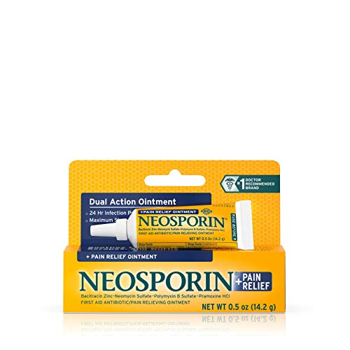 Neosporin + Maximum-Strength Pain Relief Dual Action Antibiotic Ointment with Bacitracin Zinc, .5 oz