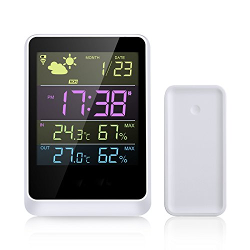 WELQUIC Wireless Weather Forecast Station and Outdoor Remote Sensor Forecasts Temperature and Relative Humidity Displays Data in Full-Color LCD Screen Features Date & Time 100ft/30m ()