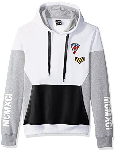 - Southpole Men's Fashion Hooded Top, White(Patch), Small