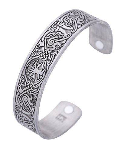 Viking Tree of Life Hugin Munin Raven Magnetic Barcelet, Celtic Knot Bangle (antique silver) -