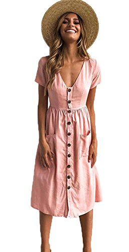 ALAIX Womens Casual Short Sleeve V Neck Button Down Summer Swing Midi Dress with Pockets