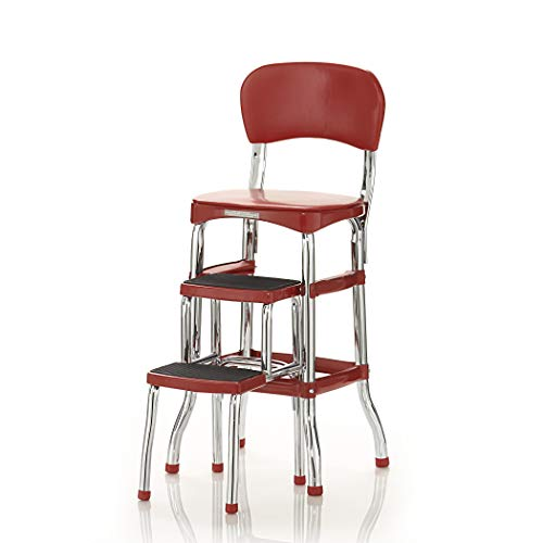 Cosco 11120RED1E Retro Counter Chair/Step Stool, Sliding, Red (Costco 2 Step Ladder)