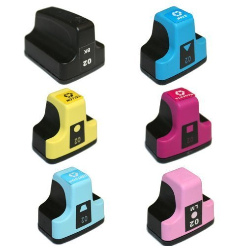 HI-VISION HI-YIELDS Compatible Ink Cartridge Replacement for HP 02 (1 Black, 1 Cyan, 1 Yellow, 1 Magenta, 1 Light Cyan, 1 Light Magenta, 6-Pack)