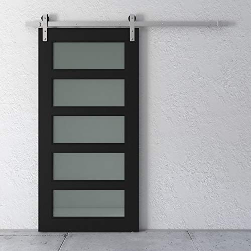 "Farmhouse Woodcraft 83"" Matte Black 5-Panel Design Sliding Wood Barn Door"
