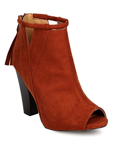 Qupid FE63 Women Faux Suede Peep Toe Perforated Cut Out Chunky Heel Bootie - whiskey