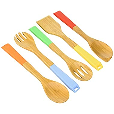 Vremi Bamboo Wooden Spoons and Cooking Utensils - 5 Piece Antimicrobial Kitchen Basics Set with Spatula Forked Serving and Mixing Spoon - Colorful Silicone Handles and Hanging Holes (Patent Pending)