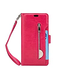 Zipper Wallet Leather Case for Samsung S8,MeiLiio Multifunction Case with Card Slots Money Pocket Cover Retro Vintage Stand Billfold Pouch Magnetic Sleeve for Samsung Galaxy S8-Hot Pink