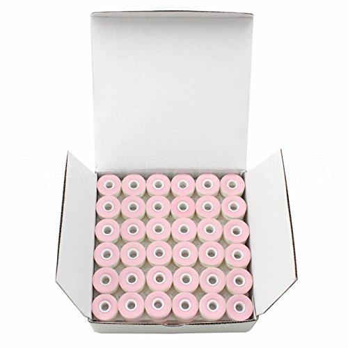 Polyester Prewound Bobbins (144 Pack - CleverDelights White Prewound Bobbins - Cardboard Sided - Size L Bobbins - 3/8