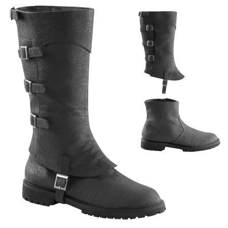 Deluxe Adult Costumes - Men's black Gotham double shaft with buckles Arno Dorian style 2 for 1 engineer boot.