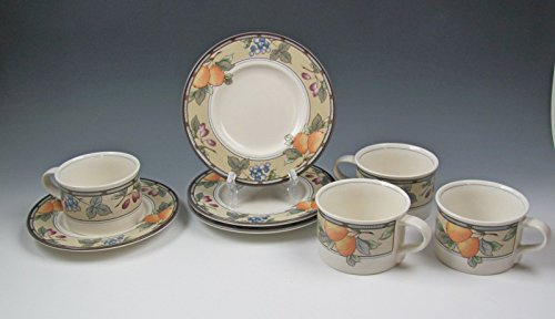 Lot of 4 Mikasa China GARDEN HARVEST Cup & Saucer Sets Very Good
