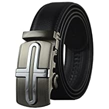 QISHI YUHUA PD Mens Casual Genuine Leather Belts Automatic Buckle Belt (Black 41,110cm)