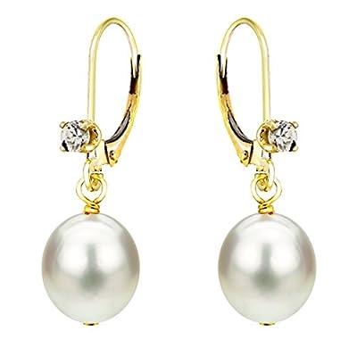 Cubic Zirconial Earrings Cultured Freshwater Pearl Dangle 14K Yellow Gold Leverback 8-8.5mm from La Regis Jewelry