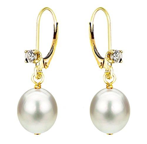 Cubic Zirconia Earrings Cultured Freshwater Pearl Dangle 14K Yellow Gold Leverback 8-8.5mm