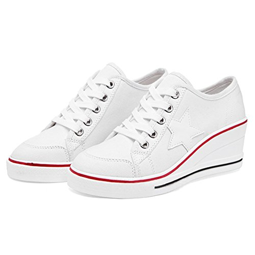 Pump heeled Fashion Platform Women's High Sneakers White Up Canvas Padgene Wedges Shoes 2 Lace FPqaRR