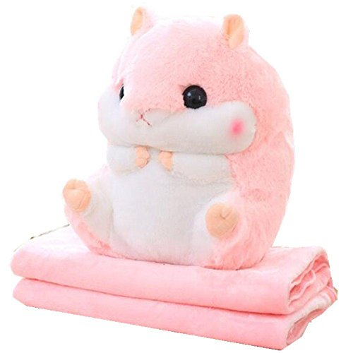 yaode 2 In 1 Baby Blanket Plush Hamster Throw Pillow Stuffed Animals Toy Blanket Set. (Pink, 6739.5 inch) by yaode