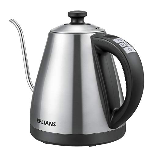 Electric Gooseneck Kettle, EPLIANS Stainless Steel Kettle with Temperature Control, Keep-Warm Function, Fast Boil, Boil-Dry Protection and LED Screen, 1 Liter