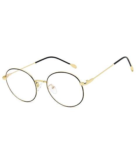 ab8ee15a98 Retro Montura Gafas para Unisex Hombre y Mujer con Montura de Metal-acero  Fino Vintage Lente Transparente: Amazon.es: Ropa y accesorios