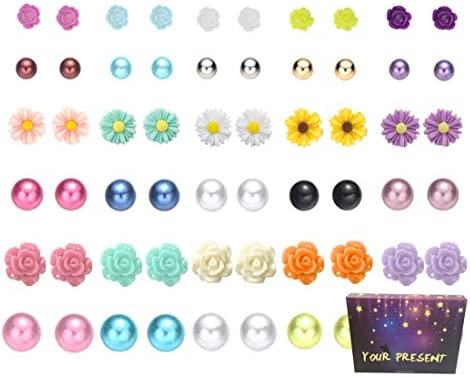 Hypoallergenic 36 Pairs Mix Pearls Ball Daisy Rose Flower Assorted Earrings Studs Set