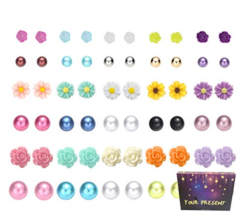 (30 Pairs Mix Pearls Ball Daisy Rose Flower Assorted Earrings Studs Set, Hypoallergenic (30 Balls+Flowers))