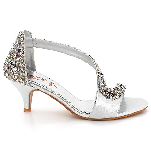 Sandales Haut Chaussures Fête Argent Femmes Mariage Open des Toe Diamante mariée Cristal de Bal Taille Soir Dames De Talon xwaaqOUnZ