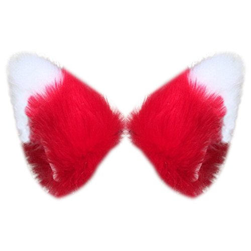 [Song Cosplay Party Cat Fox Long Fur Ears Neko Costume Hair Clip Halloween Orecchiette(Red+White)] (White Cat Costume For Women)