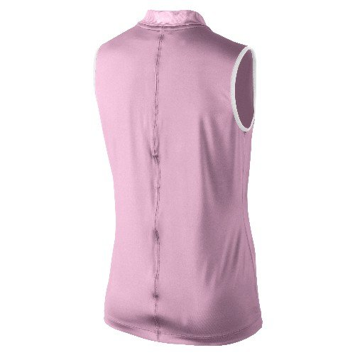 Nike Golf Women's Dot Collar Sleeveless Polo Shirt Top Ion Pink/White XL