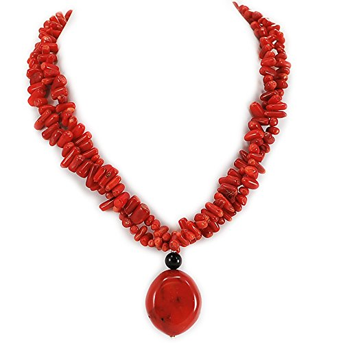 002 Sea Blood Coral Chip Beads & Pendant Necklace with Silver Plated Clasp 16